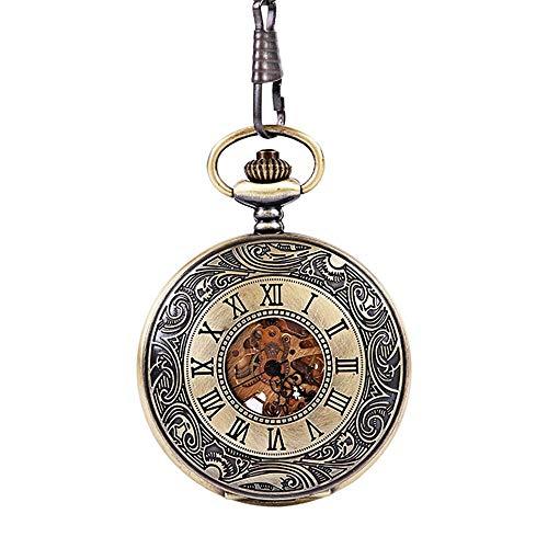 WFDA Reloj de Bolsillo con la Cadena Reloj de Bolsillo de Bronce Grabado con Escala Romana clásica Dentro y Fuera de Doble Pantalla con Encaje Grabado (Color, Size : Free Size)