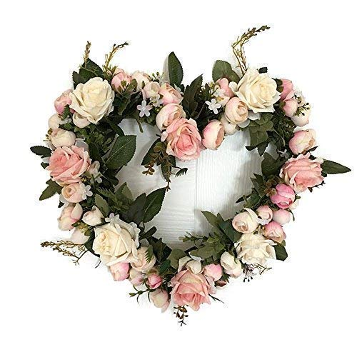 Pink Rose Heart Shaped Valentine's Day Wreath 13 Inches