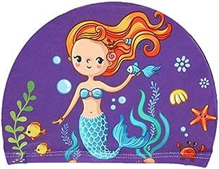 Pinkyo Shop Gorros de natación de tela elástica con dibujos animados impresos para pelo largo, bonitos gorros de natación para niños con orejas de dibujos animados, gorro de piscina para niños y niñas