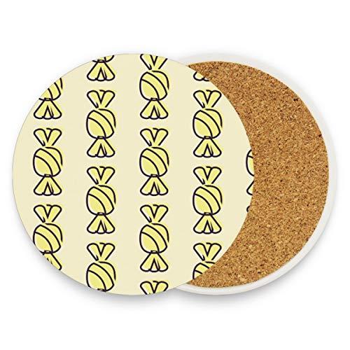 FANTAZIO Geel Hallowmas snoepjes Cup Mat Coaster voor Wijnglas Thee Coaster met Varying Patronen Geschikt voor Soorten Mokken en Bekers 1 piece set 1 exemplaar