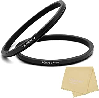 82 to 77mm Metal Step Rings with Lens Cleaning Cloth, 82mm to 77mm Step Down Ring Filter Ring Adapter for 82mm Camera Lens...