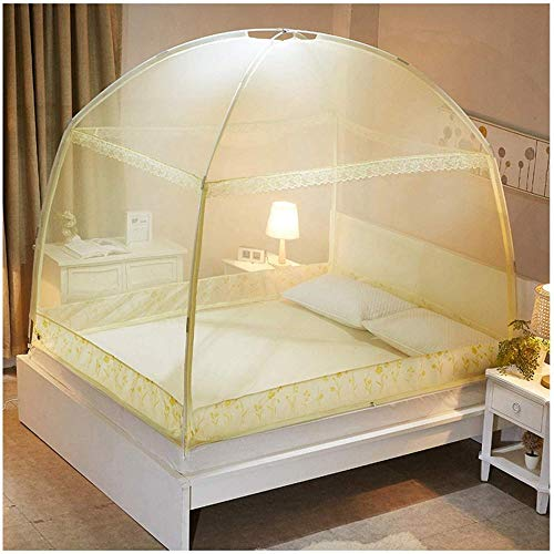 NYANGLI Pop-Up Mosquito Net Tent for Beds Anti Mosquito Bites Folding Design with Net Bottom Easy to Setup with 3 Openings for Holiday Travelling Purple-Beige_180*200 * 170CM