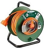 Electraline 49233 Prolunga Giardino con Avvolgicavo 50 mt Spina 16A e Presa Polivalente, Verde/arancione