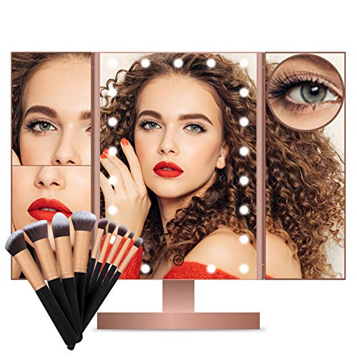 FASCINATE Lighted Makeup Mirror, Trifold Vanity Mirror with 21 LED Lights and 2X 3X  10X Magnification, Touch Screen Dimming, Dual Power Supply, 180° Rotation Light Up Mirror (Rose Gold+Brush)