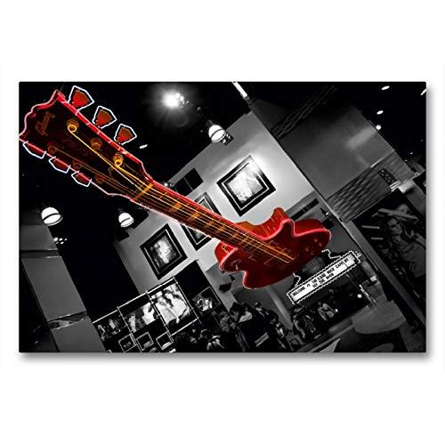 Premium Textil-Leinwand 90 x 60 cm Quer-Format Hard Rock Cafe | Wandbild, HD-Bild auf Keilrahmen, Fertigbild auf hochwertigem Vlies, Leinwanddruck von Peter Härlein