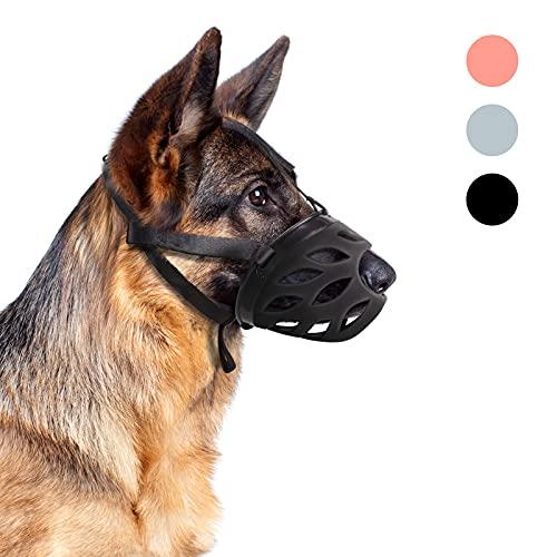Supet Maulkorb Hund Silikon Korbmaulkorb Atmungsaktiver Maulkörbe mit Verstellbare Nylon Träger für Kleine Mittlere und Große Hunde Trainingsmaulkorb verhindert Bellen Beißen und Kauen