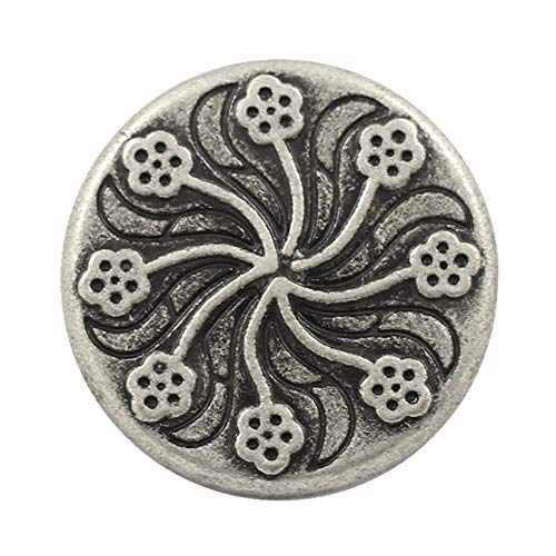 Bezelry 12 Pieces Flower Flourish Antique Silver Color Metal Shank Buttons. 20mm (3/4 inch) (Antique Silver)