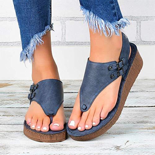 JFFFFWI Sandalias para Mujer 2020 Sandalias cómodas de Gladiador súper Elegantes, Zapatos Casuales de Roma, Sandalias con Punta Abierta, Sandalias cómodas, Corrector de juanetes, Azul, 42