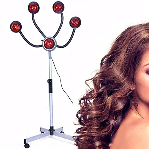 750W Infrared Heat Lamp Red Light,5 Head Portable Floor Hair Dryer Stand Up Color Processor Styling Perming Dryer Accelerator,Hairdresser Salon Barber Equipment,White,110V
