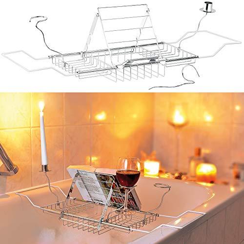 infactory Badewannenauflage mit Buchstütze, Glashaltern, Kerzenständer