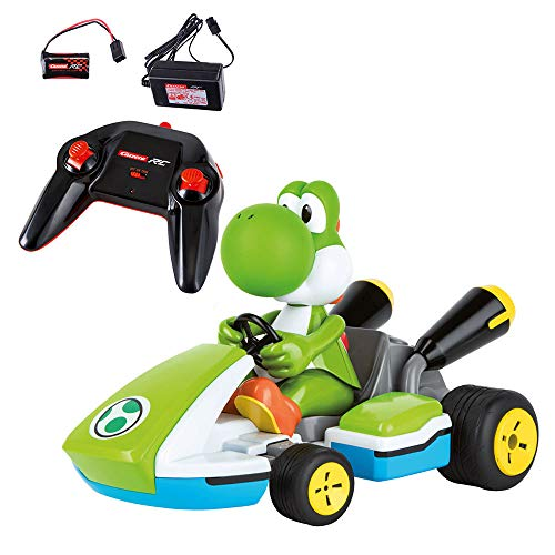 Carrera RC 162108 Official Licensed Mario Kart Yoshi Race Kart 1:16 Scale 2.4 GHz Splash Proof Remote Control Car Vehicle with Sound and Body Tilting Action - Rechargeable Battery - Kid Toys