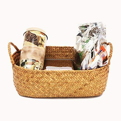 LCZMQRCLMZRQ Natuurlijk stro zeewier stro rieten mand thuis eettafel fruit brood handdoek kitchenette opslag container set, 24X14X10CM