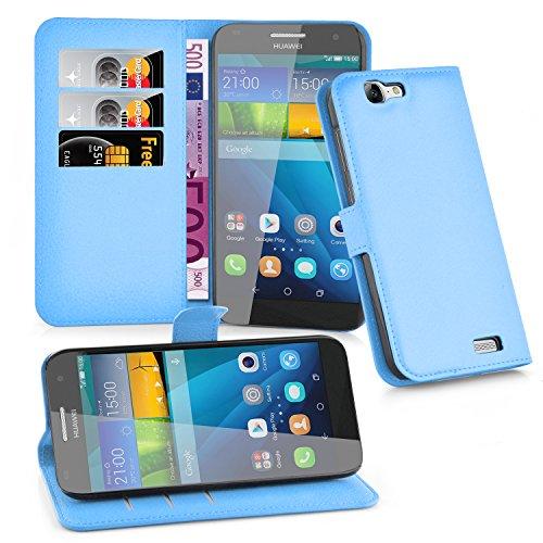 Cadorabo Hülle für Huawei G7 in Pastel BLAU - Handyhülle mit Magnetverschluss, Standfunktion & Kartenfach - Hülle Cover Schutzhülle Etui Tasche Book Klapp Style