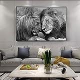 Imágenes de arte de Refosian, pinturas en lienzo de leones africanos negros, carteles e impresiones artísticos de pared, cabeza de león a la cabeza, decoración del hogar, 30x45 cm sin marco