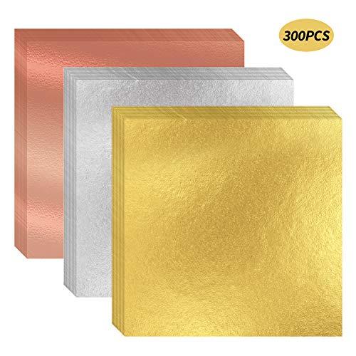 HIMETSUYA 300 Blätter Blattgold Imitation Goldfolie 6,3x6,3 Zoll Silber Rose Gold Blattgold Zum Basteln Kunst,Vergoldung Handwerk, Dekoration, Möbel