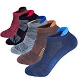 Men's Low Cut Ankle Athletic Socks Cushioned Breathable Running Performance Sport Tab cotton Socks(5 pack)