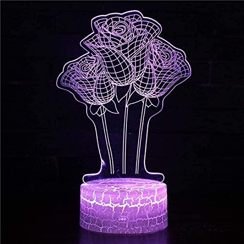 YYHMKB3D Luz nocturna, flores, setas, luces decorativas LED de siete colores, luces visuales con control remoto táctil, festivales, cumpleaños, regalos para niños
