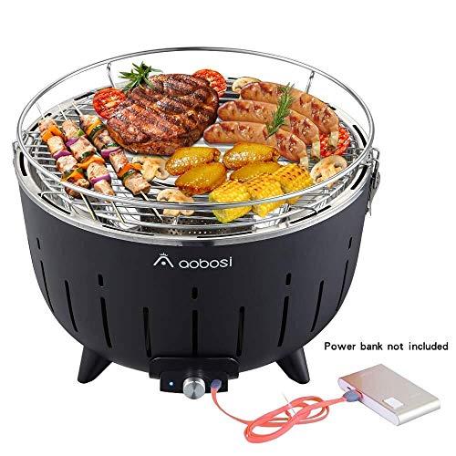 Aobosi Barbecue Senza Fumo Carbonella Barbecue Da Tavolo In Legno Carbone Barbecue A Carbonella Con Ventilazione E Borsa 35 X 35 X 23.5 Cm Nero