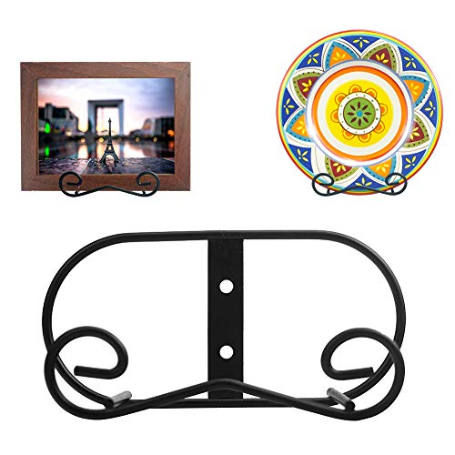 LIONWEI LIONWELI (2 Piece) Black Metal Wall Mount Display Easel Horizontal Plate Rack Plate Hanger Vertical Plate Stand Holders Picture Frame Stand for Wall-Medium