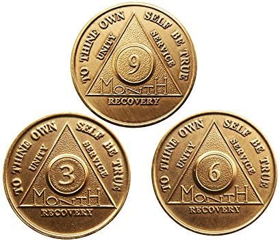 wendells Set of AA Alcoholics Anonymous Max 71% OFF 9 National products Month Medallions 3 6