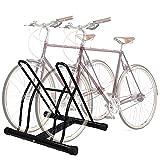 MOME 2 Estante de la Bici de la Bicicleta Soporte de Suelo Aparcamiento Dos Bicicletas Rack de Almacenamiento Garaje para Interiores y Exteriores