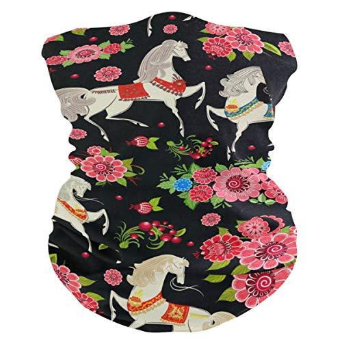 Copa Diadema Multifuncional Sombreros Sin costura Animal Caballos blancos Patrón de flores Bandana para polvo Al aire libre Deportes Montar Mascarilla Bufanda mágica
