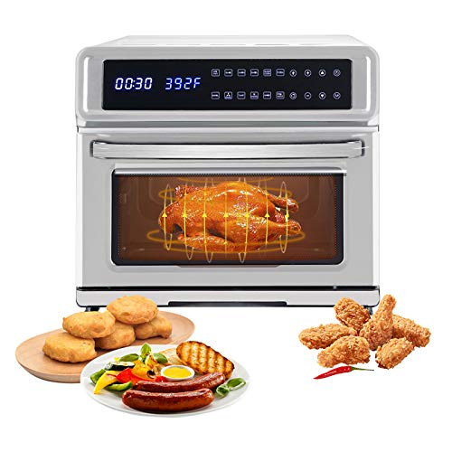 Electric Hot Air Fryers,11-in-1 Digital Air Fryer,Large 21.14 Quart 1700W Oven with Touch Control Panel for Commercial and Home Use 120V / 60Hz (Silver)