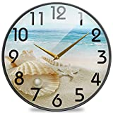 Naanle 3D Stylish Beautiful Summer Beach Seashell with Big Pearl Round Wall Clock, 12 Inch Silent Battery Operated Quartz Analog Quiet Desk Clock for Home,Office,School,Coffee Shop