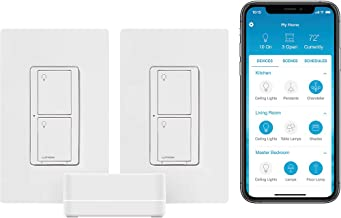 Lutron Caseta Smart Start Kit, Smart Switch (2 Count) with Smart Bridge   Works with Alexa, Apple HomeKit, and the Google ...