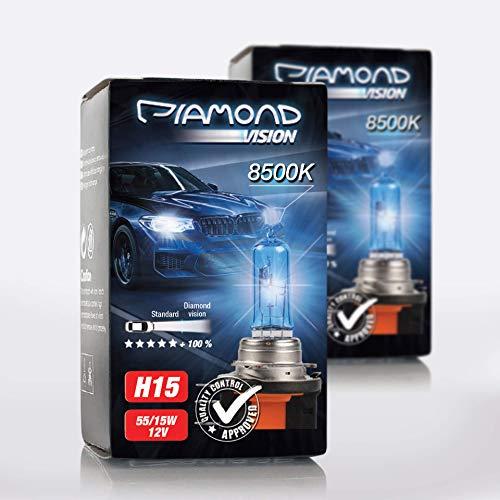 2x H15 12V 55/15W Diamond Vision Xenon Look Effekt Halogen Lampen Birnen Licht Optik Super White 8500k Abblendlicht Fernlicht Kaltweiss Weißes Licht White Vision Motorrad Duobox PGJ23t-1