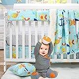 Brandream Crib Bedding Set for Baby Girl and Boy Nautical Ocean Coastal Nursery Bedding Set with Crib Sheet 2 Pack, Cartoon Fish Whales Anchors Print 4 Pieces