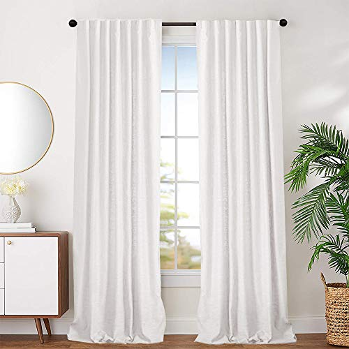 jinchan White Cotton Curtains for Bedroom Cotton Curtains 63 inches Long Window Curtain Panels for Living Room Rod Pocket 2 Panels