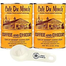 Cafe Du Monde Coffee and Chicory – (2-Pack, 425g Tins) – Blend of Ground Coffee and Chicory Bundled with Covey's…