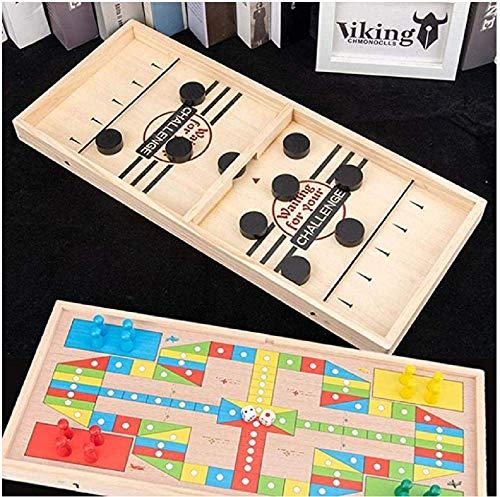 Doublez 2 In 1 Katapult Schach & Ludo,Eishockeyspiel Tisch,Desktop Battle,Eltern Kind Interaktion Katapult Brettspiel,Bouncing Chess,Tisch Hockey Spielzeug