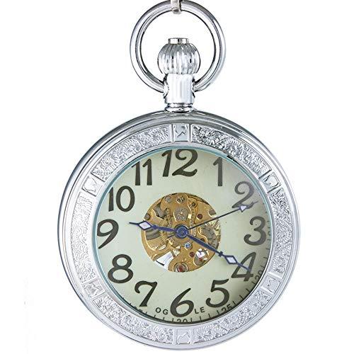Ogle 防水 拡大鏡 スケルトンチェーン シルバー 夜光 フォブ スケルトン 機械式懐中時計 シルバー 拡大鏡 夜光
