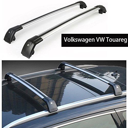 KPGDG Fit for Volkswagen VW Touareg 2011-2018 Lockable Baggage Luggage Racks Roof Racks Rail Cross Bar Crossbar - Silver