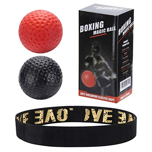 Blkthun Boxing Pelotas de Reflejo, Pelota Entrenamiento de Reflejos Boxeo, Boxing Reflex Ball Juego de pelotas de boxeo con banda para boxeo, 2 niveles de dificultad