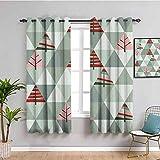 Cortinas de decoración gris para dormitorio abstracto, diseño geométrico retro de triángulos árboles, impresión cafetería coral y reseda verde ancho 52 x largo 63 pulgadas