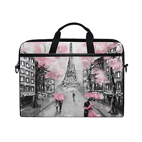 ALAZA Art Paris Eiffel Tower Laptop Case Bag Sleeve Portable/Crossbody Messenger Briefcase Convertible w/Strap Pocket 15-15.4 inch, Back to School Gifts
