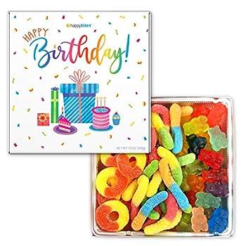 Happy Bites Happy Birthday Gummi Candy Gift Box with Gummi Bears Sour Neon Gummi Worms & Peach Gummi Rings