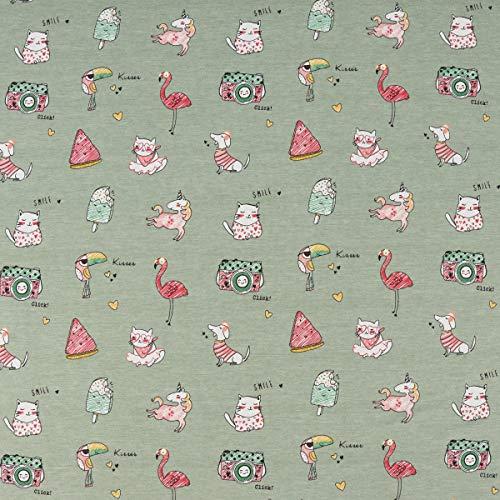 SCHÖNER LEBEN. Baumwolljersey Jersey Jolly Animals Flamingo Einhorn Melone EIS Mint meliert bunt 1,5m Breite