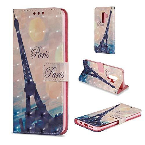 CoverKingz Handytasche für Samsung Galaxy S9 Plus Handyhülle, Flip Case Cover, Schutzhülle mit Kartenfach, Handy Hülle Motiv Paris Eifelturm