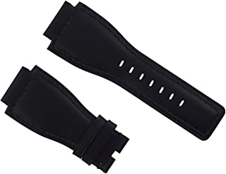 24MM LEATHER STRAP SMOOTH BAND FOR (42mm/46mm) BELL & ROSS BR-01-03 WATCH BLACK