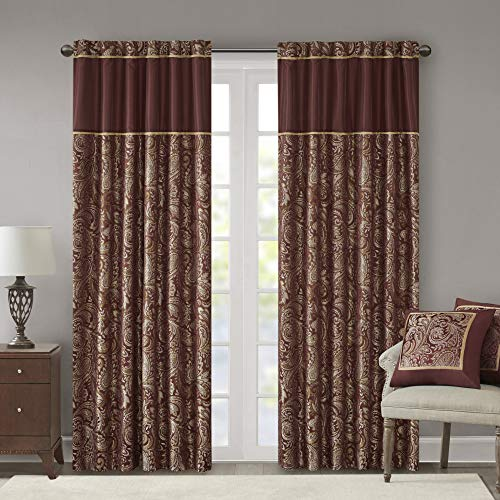 "Madison Park Aubrey Faux Silk Paisley Jacquard, Rod Pocket Curtain with Privacy Lining for Living Room, Kitchen, Bedroom and Dorm, 50"" x 108"", Burgundy"