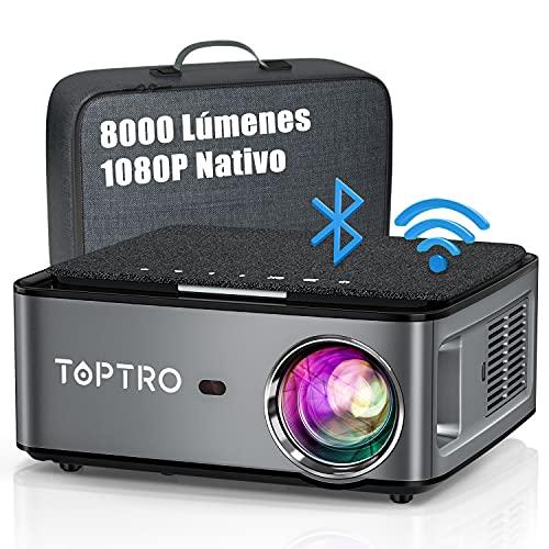 Proyector WiFi Bluetooth 1080P, 8000 Lúmenes TOPTRO...