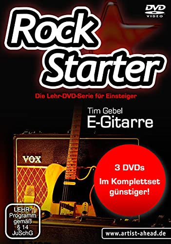 Das Rockstarter Vol. 1-3 Komplettset - E-Gitarre: 3 DVDs! Gitarrenschule. Unterricht für Anfänger. Training. School Of Rock. Einfach Gitarre lernen.