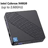 Mini PC sans Ventilateur Intel Celeron N4000 (jusqu'à 2,6 GHz) 4 Go DDR4 / 64 Go eMMC Mini Ordinateur Windows 10 Pro Port HDMI et VGA 2,4/5,8 WiFi BT4.2 3xUSB3.0 Linux, SSD M.2 2242