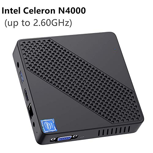 Mini PC sin Ventilador Intel Celeron N4000 (hasta 2.6GHz) 4GB DDR / 64GB eMMC Mini computadora Windows 10 Pro Puerto HDMI y VGA 2.4/5.8G WiFi BT4.2 3xUSB3.0 Soporte Linux, M.2 2242 SSD