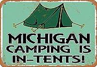 ミシガンキャンプはテント内にあります。 ブリキサインヴィンテージ鉄塗装メタルプレートノベルティ装飾クラブカフェバー。