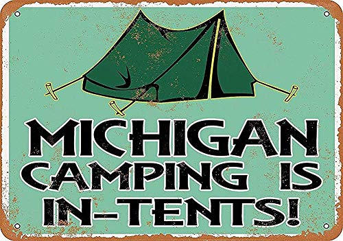 Michigan Camping is in-Tents Retro Tin Sign For Club Bar Cafe Home Wall Decor 20cm X 30cm